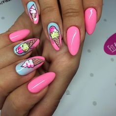 #nails #nailsArt #nailsswag #pinknails #ombrenails #icecreamnails #icecream #cute #cutenails