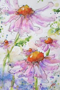 "Hand Painted Original Watercolour Painting of beautiful flowers open to the sun, floral, pink, orange, cone - 5x7""painting with 8x10""mat"
