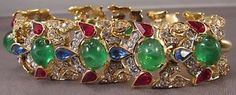 Vintage-Crown-Trifari-Bracelet-Jewels-Of-India-Rhinestone-Glass-MASTERPIECE-MINT