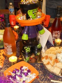Halloween centerpiece made from clay pots