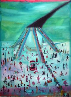 La hoguera de las vanidades , acrylic on canvas, 97 x 130 cm., year 2007 .Painting of the Serie Simbolism for sale by artist Diego Manuel