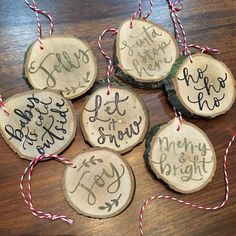 #Rustic #wooden #Christmas baubles strung with twine and ready to go! £4 each or two for £7.50. Postage £1. #reclaimedwood #lettering #handlettering #handdrawntype #calligraphy #moderncalligraphy #nikkiwhistoninks