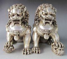 Pair Chinese Home Fengshui Silver Guardian Lion Foo Fu Dog Male Female Statue