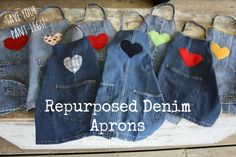 repurposed denim aprons - use the pant-leg from an old pair of jeans to make a crafting apron for your child. Super durable, easy to wash. I made a bunch of them for my daycare. (happyhooligans.ca)