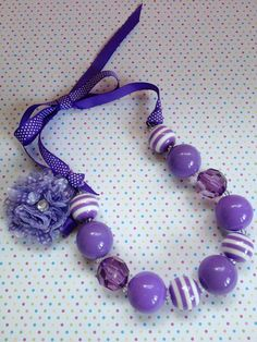 Chunky Bubblegum Necklace, Hair Accessory, Purple & White, Girls, Toddlers, Birthday, Photo Props on Etsy, $20.00