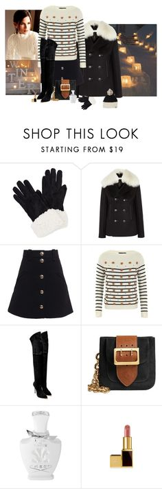 """""""Jack Frost Nipping At Your Nose"""" by katiethomas-2 ❤ liked on Polyvore featuring Balenciaga, Chloé, Gucci, Casadei, Burberry, Creed and Mischa Lampert"""