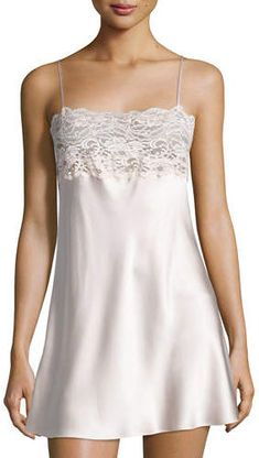 Bijoux Lace-Band Silk Chemise by Christine Lingerie at Neiman Marcus Lace Inset, Lace Trim, Ropa Interior Babydoll, Silk Chemise, Black Lace Tops, Pretty Lingerie, Straight Skirt, Night Gown, Lounge Wear