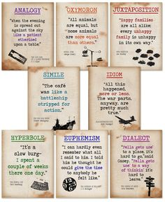 Literary terms ii quote poster set of eight featuring analogy, oxymoron, juxtaposition, simile Writing Help, Writing Tips, Writing Prompts, Writing Poetry, Fiction Writing, Teaching Writing, Essay Writing, Improve Writing, Teaching Literature
