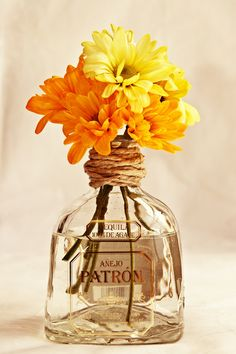 Tequila bottle decorations... It gives us an excuse to drink margaritas in preparation?!                                                                                                                                                                                 More