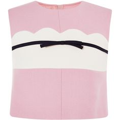 Giambattista Valli Top With Bow In Pink ($550) ❤ liked on Polyvore featuring tops, t-shirts, stripe t shirt, stripe crop top, stripe tee, pink tee and crop t shirt