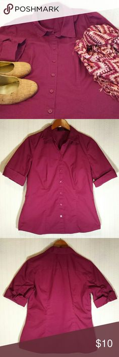 The Limited Merlot Button Up Blouse The Limited wine colored short sleeve button up shirt.  Tailored to fit.  Cotton, polyester, and spandex blend.   No rips, stains, or imperfections. Smoke free house.   Bundle with a suit, blazer, or another button up shirt for a discount.  Reasonable offers are accepted and I discount bundles. The Limited Tops Button Down Shirts