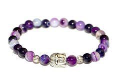 BUDDHA náramok silver fialový achát Buddha, Beaded Bracelets, Silver, Jewelry, Fashion, Moda, Jewlery, Jewerly, Fashion Styles