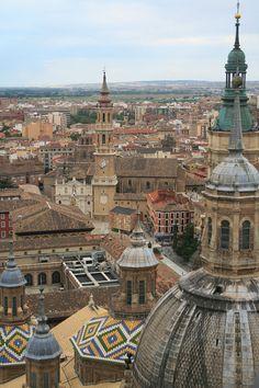 #Zaragoza desde una torre de la #Basílica del Pilar. #España.