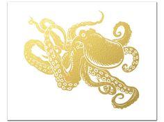 Gold Foil Octopus Silhouette Print Gold by AdamsAleArtPrints