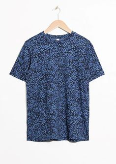 & Other Stories image 1 of Floral Cotton Top in Blue Reddish Dark