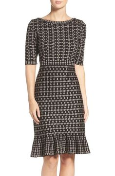 "Taylor Dresses Sweater Knit Sheath Dress.Jacquard knit designs polish this cozy sweater-knit dress classically tailored with demure elbow-length sleeves and a fitted pencil skirt that flares out to a flouncy hem. 38"" length (size Medium) Slips on over head Bateau neck Elbow-length sleeves Unlined 47% rayon, 40% acrylic, 13% polyester Nordstrom"