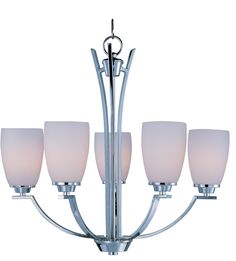 Maxim Lighting Rocco Polished Chrome Modern/Contemporary Opal Glass Chandelier at Lowe's. A clean, contemporary design featuring rectangular tubing, finished in your choice of Polished Chrome or Oil Rubbed Bronze, is enhanced by the tall scale, Chandelier Ceiling Lights, Chandelier Shades, Glass Chandelier, Chandeliers, Maxim Lighting, Cool Lighting, Lighting Ideas, Contemporary Chandelier, Modern Contemporary