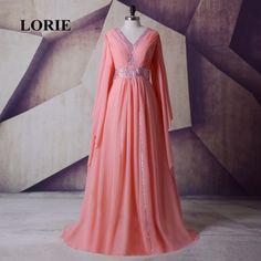 LORIE New Moroccan Kaftan Arabic Evening Dress V-Neck A-Line Chiffon Long Sleeve Muslim Prom Dress Dubai Abaya abendkleider Real