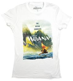 Disney Moana Scene Ocean Connects Us Juniors Tshirt Large White ** Learn more by visiting the image link.Note:It is affiliate link to Amazon.