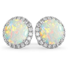 These white gold stud earrings feature of accent diamonds forming a halo around of center round Opals combined on both earrings - Shop Now! 14k White Gold Earrings, White Gold Jewelry, Opal Jewelry, Gemstone Earrings, Stud Earrings, Diamond Jewelry, Halo Diamond, White Gold Diamonds, Ear Cuffs
