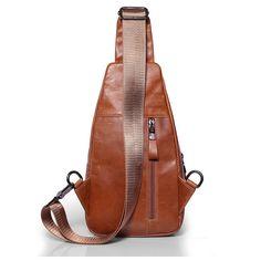 Ekphero Men Casual Genuine Leather Oil Wax Chest Bag Crossbody Bag - US$39.99
