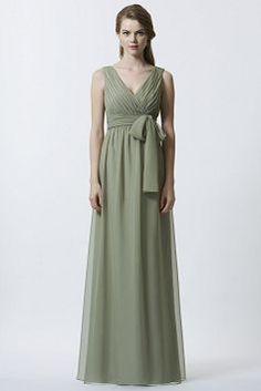Sheath/ Column V Neck Chiffon Floor Length Natural Waist Sleeveless Bridesmaid Dress With Ruching - Angeldress.co.uk