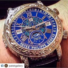 "Only A Few!  #Repost @patekgallery with @repostapp.  ""Grand Complications"" Skymoon  Awesome Patek Philippe #GrandComplications #Skymoon #Tourbillon #Chime with two cathedral gongs activated by a slide piece in the case #minuterepeater #retrograde date hand #perpetualcalendar #moonphase blue enamel dial with Roman numerals mechanical wound movement in fully Engraved white gold case with alligator leather strap.  Reserve side : side time skychart phase and orbit of the moon. Ref: #6002G…"