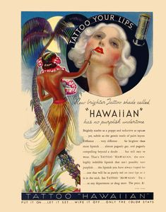 vintage art deco advertisement tattoo your lips by FrenchFrouFrou