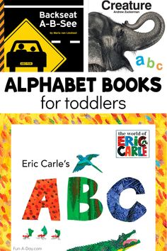 Super simple alphabet books that will appeal to the youngest learners! Parents and care providers alike will love these classic books that introduce the alphabet and other literacy concepts in a fun way. Early Learning Activities, Rhyming Activities, Infant Activities, Teaching The Alphabet, Alphabet For Kids, Preschool Lesson Plans, Preschool Books, Kids Writing, Kids Reading