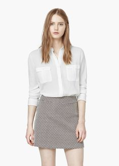 Textured cotton shirt - Shirts for Women | MANGO