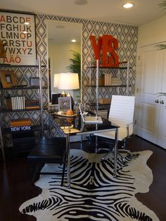 Love the wallpaper for a home office