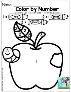 Color By Number Rakam Tan Auml Plusmn Ma Kindergarten Worksheets Preschool Preschool Apple Theme, Preschool Colors, Numbers Preschool, Fall Preschool, Preschool Learning Activities, Preschool Printables, Preschool Lessons, Preschool Classroom, Kindergarten Worksheets