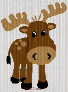 Too Cute Baby Moose Afghan Crochet Pattern Graph EASY | eBay