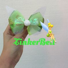 TinkerBell Bow by HeighHoBows on Etsy https://www.etsy.com/listing/491100185/tinkerbell-bow