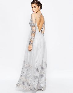 Chi Chi London Open Back Maxi Dress With Floral Embroidery $97.00 AT vintagedancer.com