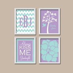 Aqua Purple Custom Personalized Child Name Kiss Me Goodnight Tree Flower Bird NURSERY Print Artwork Set of 4 Girl WALL ART Decor Chevron
