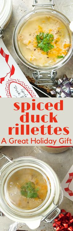 This easy Spiced duck rillettes recipe makes enough to have for yourself and gift to others. A great appetizer for the holidays or any special occasion! #appetizer #duck #gifting #foodgifts #horsdoeuvres #pate #pottedmeat #cognac #orange #paleo