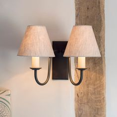 A handmade double wall light with a classic design and rectangular shaped bevelled back plate, forged in iron. Pastel Interior, Interior Ideas, Contemporary Classic, Contemporary Homes, Traditional Wall Lighting, Indoor Wall Lights, Cottage Lighting, Candle Shades, Iron Wall