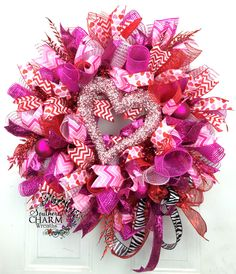 Deco Mesh Valentines Day Heart Wreath by SouthernCharmWreaths.com #valentinesday #decor #party