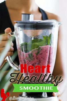 Adults and kids love the taste of this 4 ingredient heart healthy smoothie. Red grapes are the star which contain resveratrol in the skin (no glass of wine needed) and spinach is a nutritional powerhouse. Simple, easy and delicious! #hearthealthy #smoothie #breakfast #greensmoothie **Want my FREE 7 Day Superfood Smoothie Challenge?! Sign up here to get your eBook, recipes & shopping list! BlenderBabes.com/SmoothieChallenge