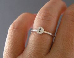 Custom Initial Ring, Sterling Silver, Brass, Or Copper Initial Ring, Choice Of 1 Personalized Ring