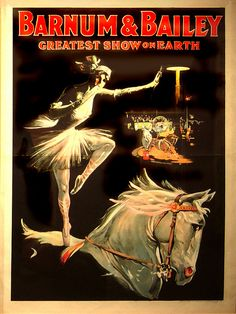 Greatest Show on Earth Vintage Circus Photos, Vintage Circus Posters, Vintage Art, Horse Posters, Art Posters, Ringling Brothers Circus, Circus Nursery, Barnum Bailey Circus, Old Tattoos