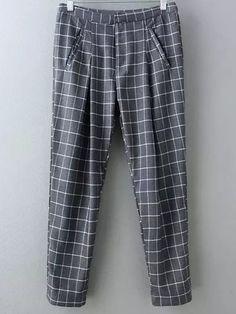 Buy Grey Pockets Plaids Harem Pants from abaday.com, FREE shipping Worldwide - Fashion Clothing, Latest Street Fashion At Abaday.com