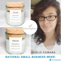 😊In honor of #NationalSmallBusinessWeek we're celebrating our amazing client, Noelle Camara, owner of Green Euphoria! 😊  Noelle's was inspired to create Green Euphoria after she noticed that most 'natural' candles and body care products used non-natural ingredients. Noelle's love for clean candles and body care products helps her provide a clean and ecofriendly alternative in creating a healthier you!   Email: greeneuphoriaceo@gmail.com  Phone: 971-400-6440 #smallbusinessweek #natural…