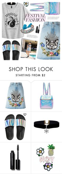 """""""Festival Fashion"""" by alexandrazeres ❤ liked on Polyvore featuring Gucci, Kara, Aéropostale, Bobbi Brown Cosmetics, Shourouk, festival and coachella"""