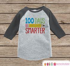 100 Days of School Shirt - Boys 100 Days Smarter Shirt - Kids School Outfit Grey Raglan Tee - Boys 100th Day of School T-shirt