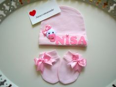 Pink cotton baby hat infant hat name custom hats by Lilamina, $20.00