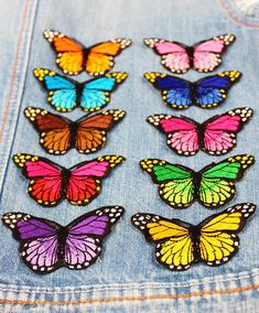 Butterfly Embroidered patches Lovely bug Patches for jackets Iron on patches Flowers patches beetle patches Backpack patches Funny patches Quilling Butterfly, Rainbow Butterfly, Butterfly Crafts, Butterfly Wings, Paper Quilling, Butterfly Template, Butterfly Embroidery, Butterflies, Wood Yard Art