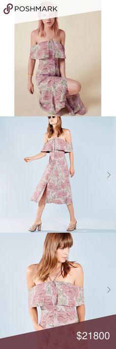 🌸Reformation Mina dress- Diana print🌸 It's summer - accessorize with gelato. This is a button front, calf length dress with a front v strap and ruffle edged bodice. - Adjustable straps- Button front- Calf length- Elastic neckline- Front v strap- Hidden center front snap- Pockets- Ruffle edged bodice - New with tags, like for price drop notification  when it becomes available Reformation Dresses Midi