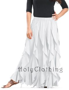 Talia Gypsy Ruffle Asymmetrical Layered Flared Peasant Skirt - Skirts